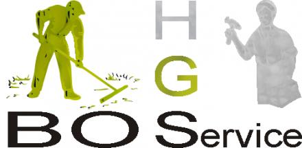 Logo Haus-Gartenservice. Es sind zwei Figuren zu sehen, ein Gartenarbeiter links und ein Handwerker rechts