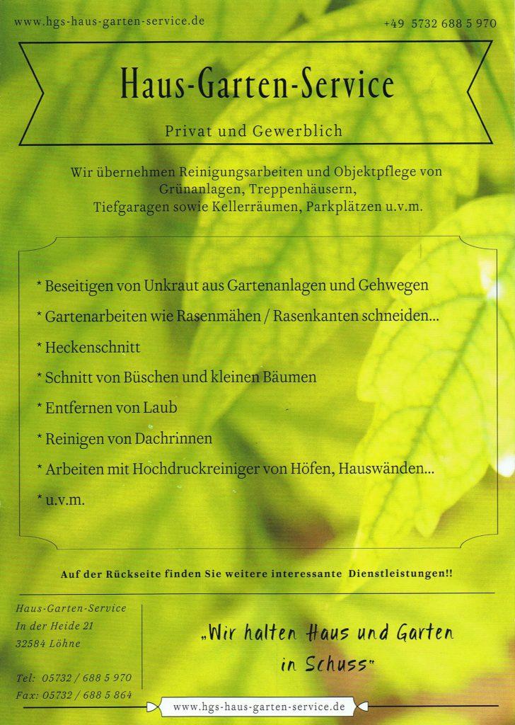 Haus und Gartenservice. Grüner Flyer mit angebotenen Dienstleistungen.